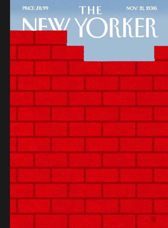 Cover from the New Yorker magazine Nov. 21, 2016 issue, showing a brick wall