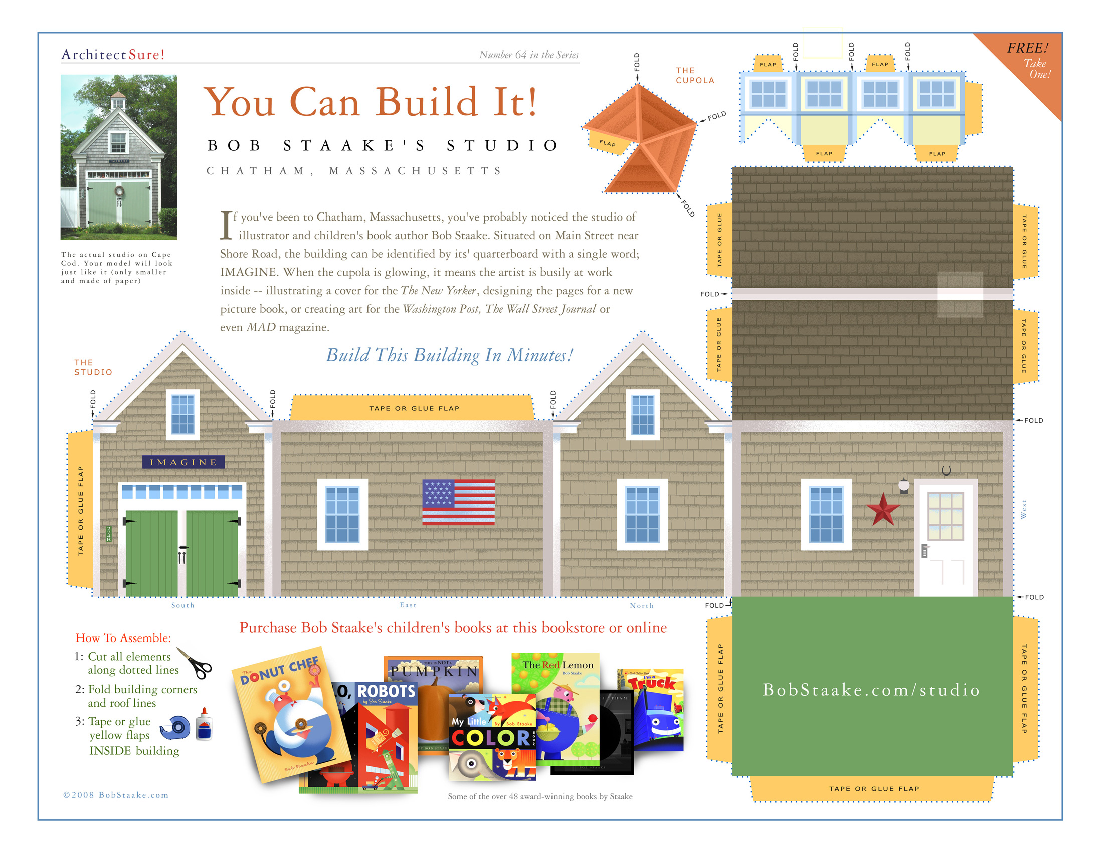 graphic relating to Free Printable 3d Buildings referred to as Produce A Paper Type Of The Bob Staake Studio